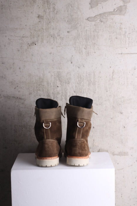 Balmain Green leather trimmed suede boots EU 44