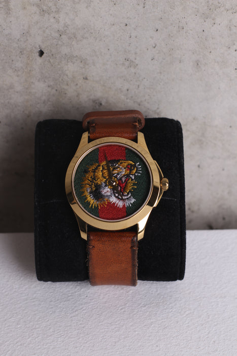 Gucci Le Marche Des Merveilles Two-Tone Qaurtz  Watch Tiger head