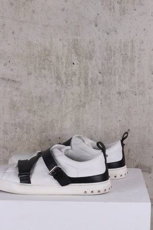 Valention Buckle Strap and Stud White sneakers