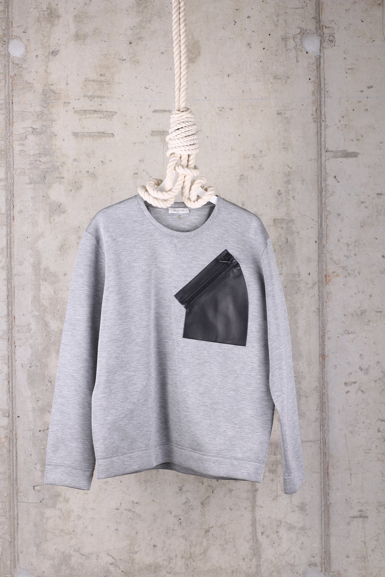 Valentino Grey Sweatshirt with leather pocket Size Large