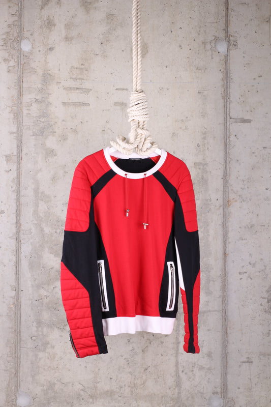 BALMAIN Red/ White/ Black Mens Jumper - Size XL
