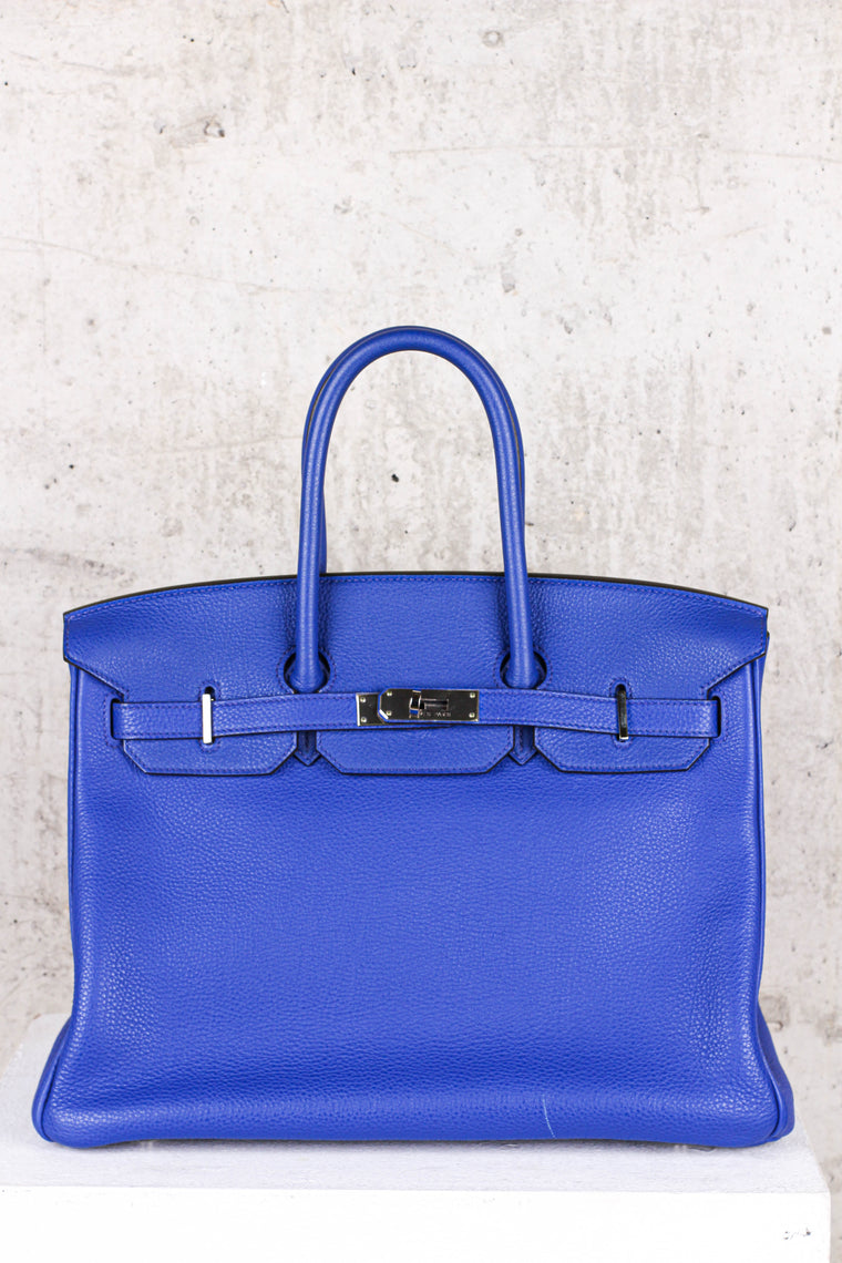 Hermés Birkin Blue 35 Togo Leather Silver Hardware