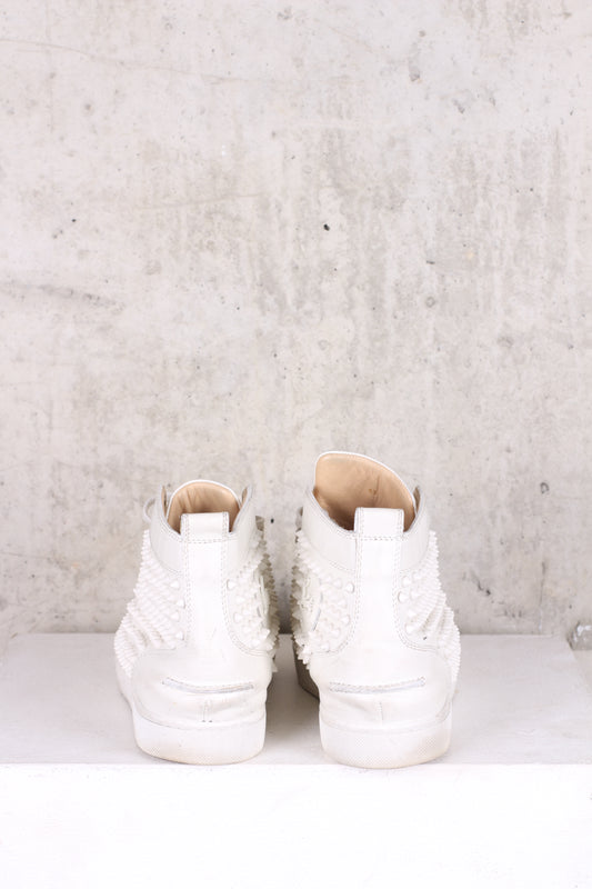 CHRISTIAN LOUBOUTIN White Mens Spiked Sneakers