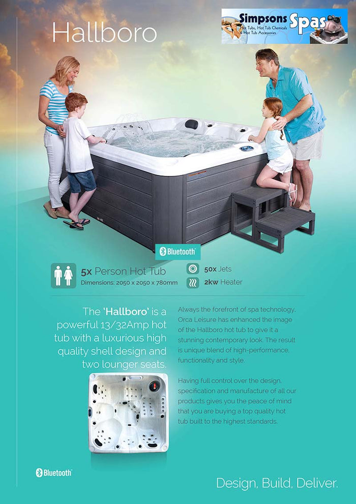 Hallboro 13 Amp plug and play hot tub. Includes cover, cover lifter, steps and chemical pack.