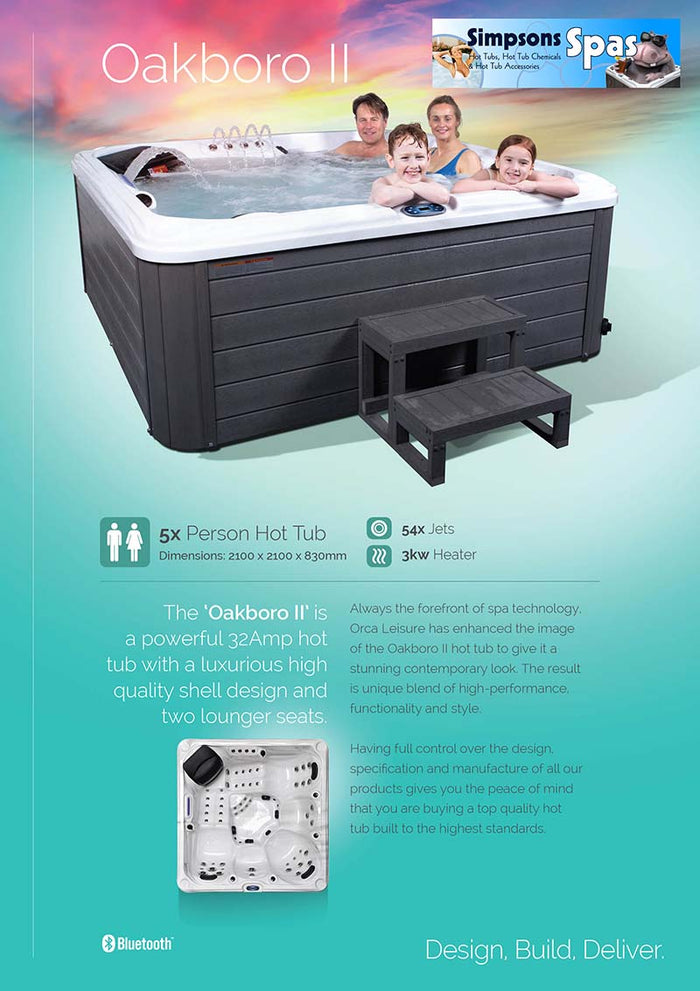 Oakboro ii 32 amp Hot tub includes cover, cover lifter, steps and chemical pack