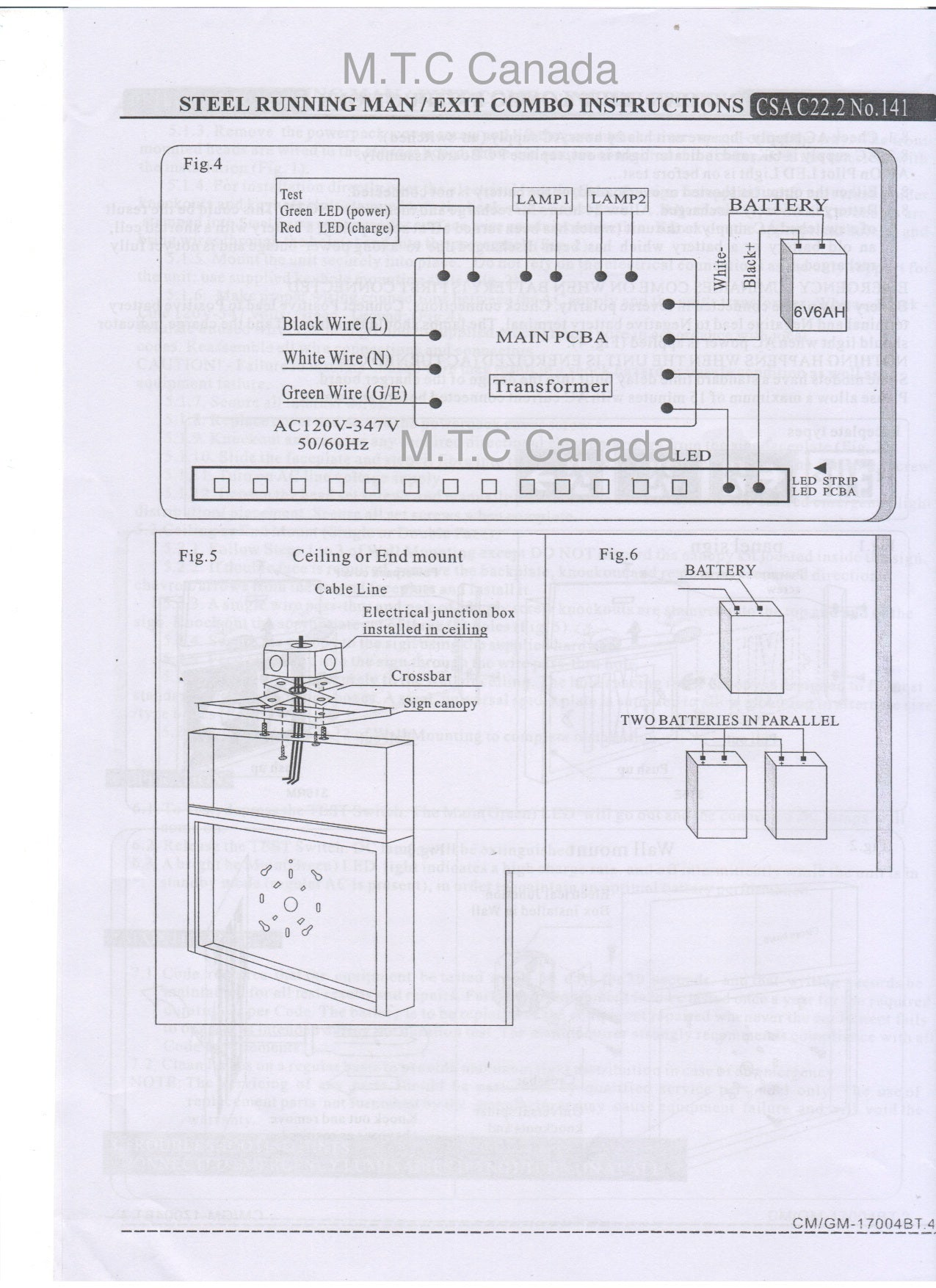 Mtc Canada Led Steel Running Man Exit Sign Combo Csa Certified Wiring Diagram 120v 277v With 2 Head 2wx2