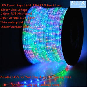 Led rope light mtc canada led lights led round rope light 25mroll colour rgb with colour changing wall plug controller mozeypictures Image collections
