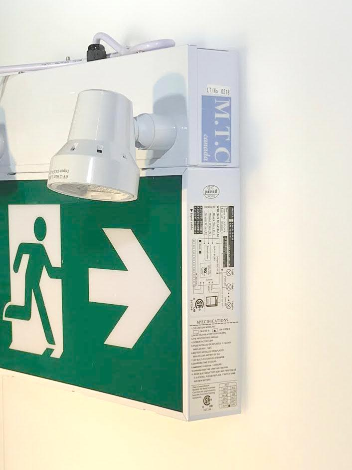 M T C Canada LED STEEL RUNNING MAN EXIT SIGN COMBO CSA Certified With 2  Head LED 2Wx2
