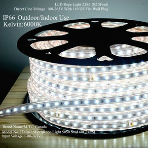 Led rope light 25m roll outdoorindoor use 6000k cool white with led rope light 25m roll outdoorindoor use 6000k cool white with 110v flat wall aloadofball Gallery