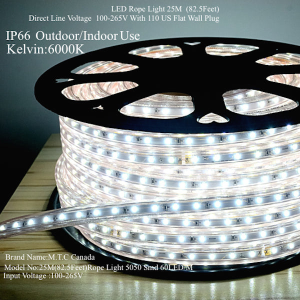 LED Rope Light 25M Roll Outdoor/Indoor Use 6000K Cool White With 110V Flat  Wall Plug