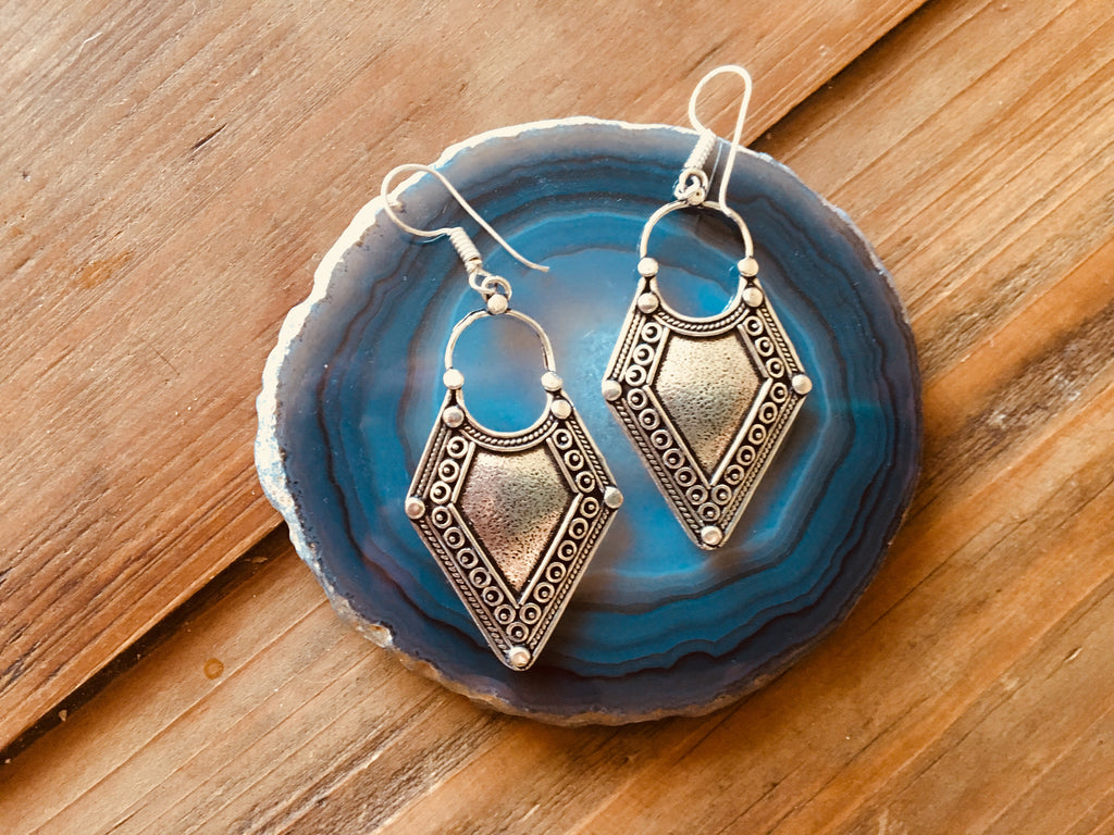 Old World Style Silver Earrings
