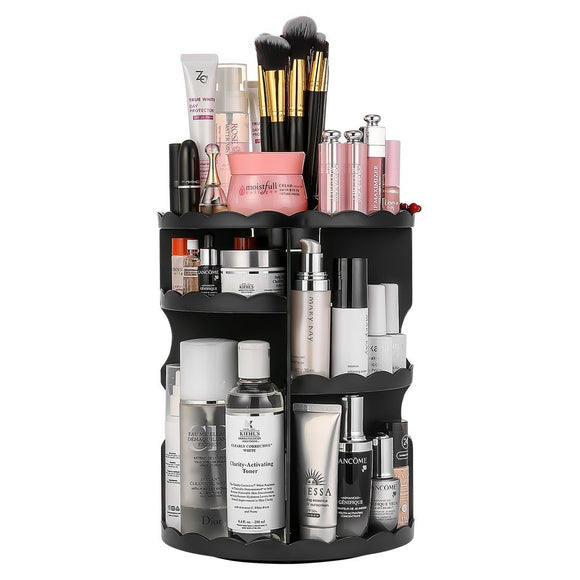 360-Degree Rotating Makeup Organizer, Adjustable Compact Size with Large Capacity Black