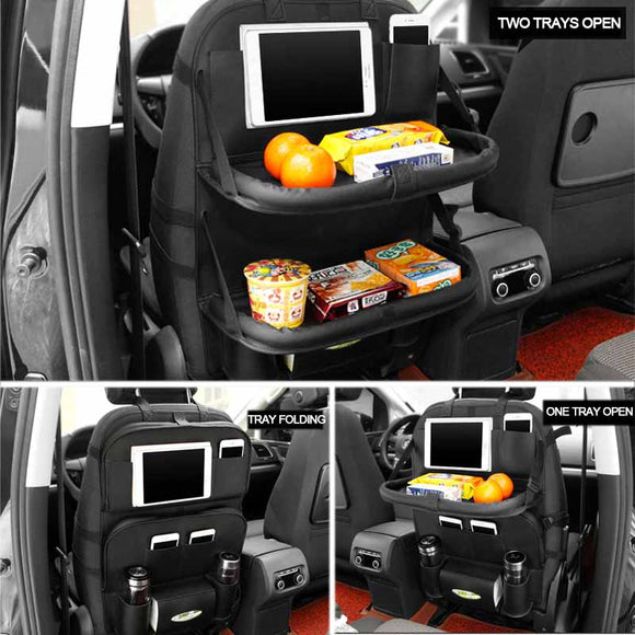 Car Back Seat Organizer with 2 Foldable Trays - Storage Mood