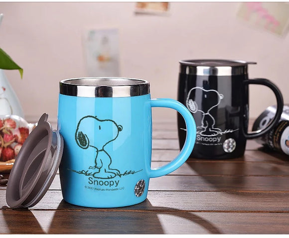Snoopy 420ml Stainless Steel Insulated Coffee Tea Cup Drinking Mug Flask Thermos - 4 Colors - Storage Mood