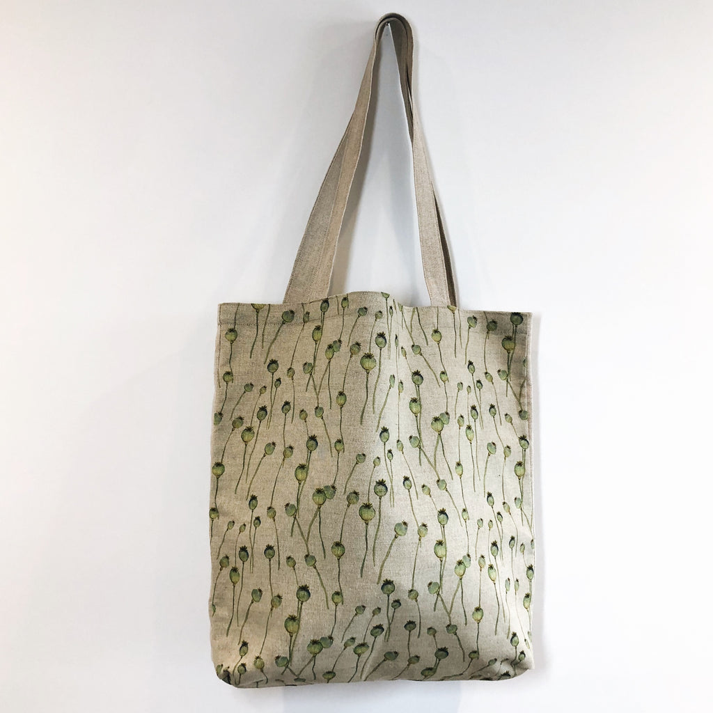 Poppy Seed Head Linen Tote Bag