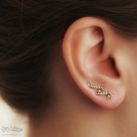 Ear Wings 925 Sterling Silver with Sterling Silver and 14ct Yellow Gold Filled Beads