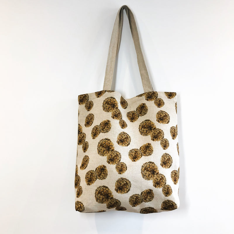 Pinecone Linen Tote Bag