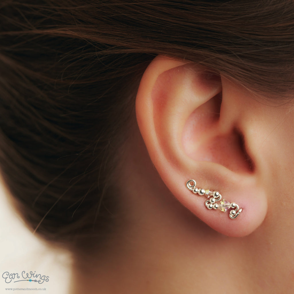 Ear Wings 925 Sterling Silver with 2x Swarovski AB Clear Crystals
