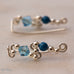 Ear Wings 925 Sterling Silver with Swarovski Aquamarine Crystals