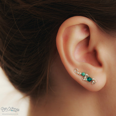 Ear Wings 925 Sterling Silver with Swarovski Blue Zircon Crystals