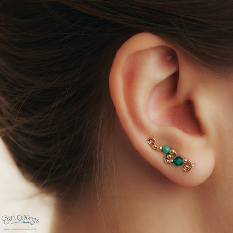 Ear Wings 14ct Yellow Gold Filled with Swarovski Blue Zircon Crystals