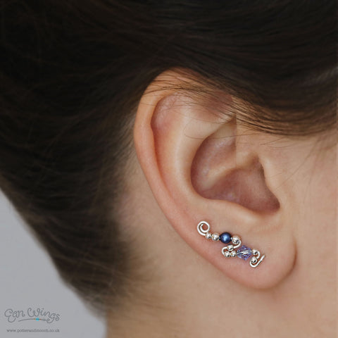 Ear Wings 'Blueberry' 925 Sterling Silver