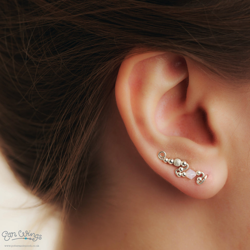 Ear Wings Bridal 925 Sterling Silver with Swarovski White Opal Crystals and Sterling Silver Stardust Beads