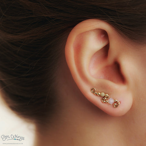 Ear Wings Bridal 14ct Yellow Gold Filled with Swarovski White Opal Crystals and Yellow Gold Stardust Beads