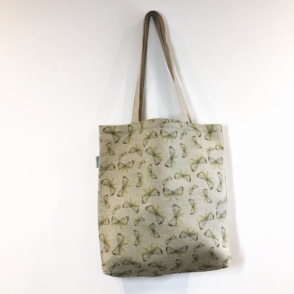 Butterfly Blue Linen Tote Bag