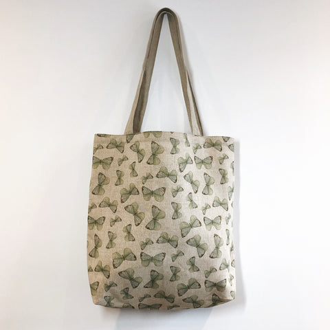 Butterfly Natural Linen Tote Bag