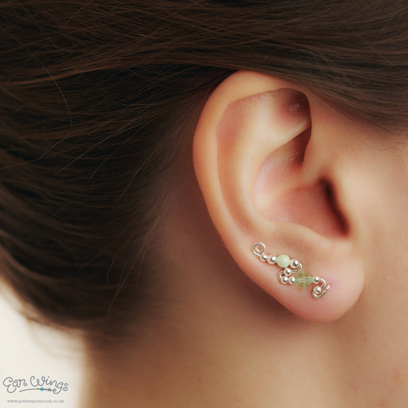 Ear Wings 925 Sterling Silver with Swarovski Chrysolite Crystals