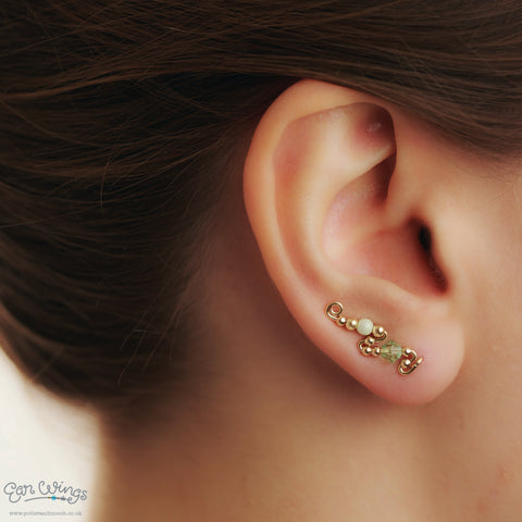 Ear Wings 14ct Yellow Gold Filled with Swarovski Chrysolite Crystals