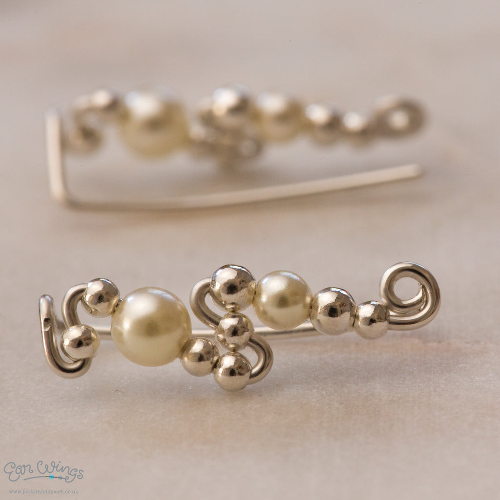 and with grey peach pearls imitation cream glass rhodium stones earrings crystal light