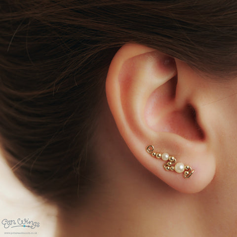 Ear Wings 14ct Yellow Gold Filled with Swarovski Cream Pearls