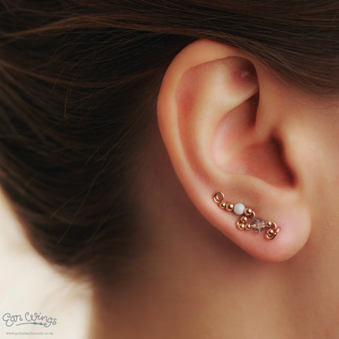 Ear Wings 14ct Rose Gold Filled with Swarovski Blue Shade Crystals