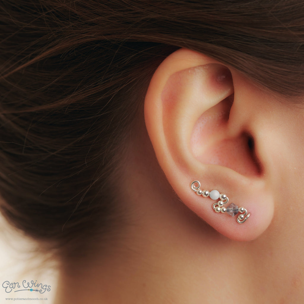 Ear Wings 925 Sterling Silver with Swarovski Blue Shade Crystals