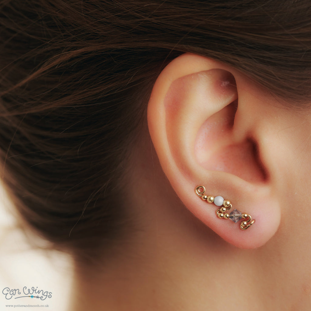 Ear Wings 14ct Yellow Gold Filled with Swarovski Blue Shade Crystals