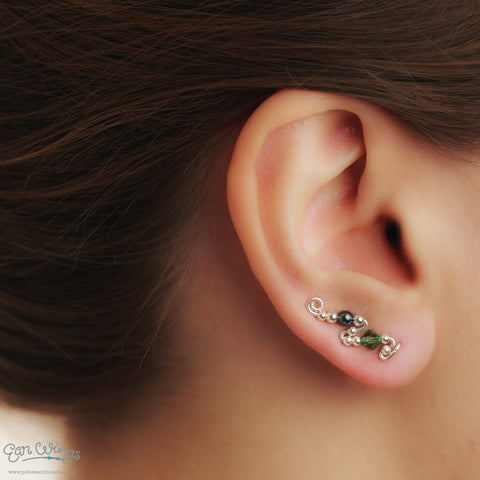 Ear Wings 925 Sterling Silver with Swarovski Erinite Crystals