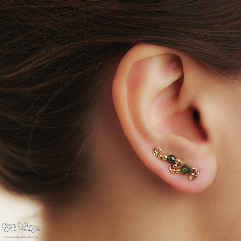 Ear Wings 14ct Yellow Gold Filled with Swarovski Erinite Crystals