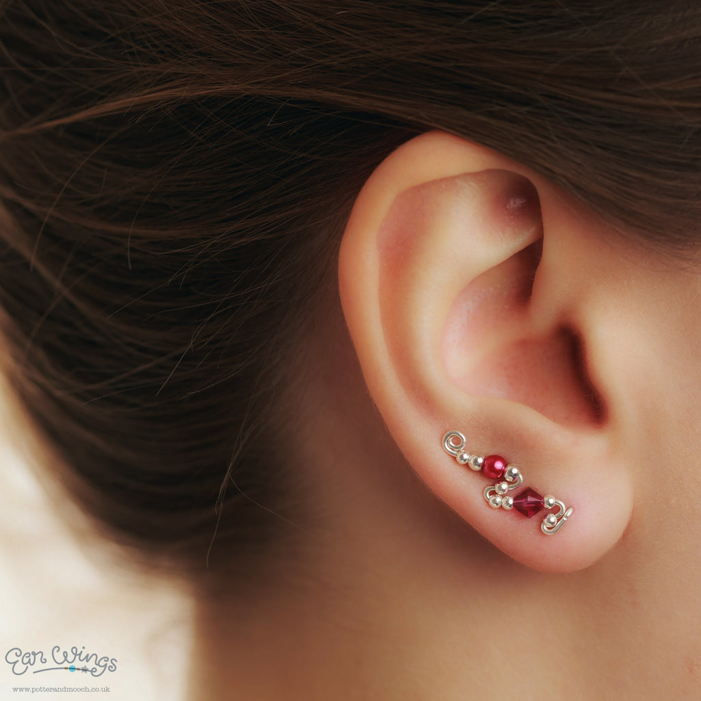 Ear Wings 925 Sterling Silver with Swarovski Fuchsia Crystals