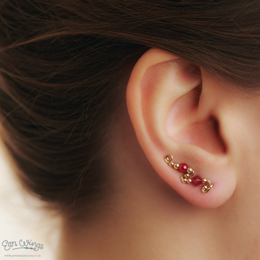 Ear Wings 14ct Yellow Gold Filled with Swarovski Fuchsia Crystals