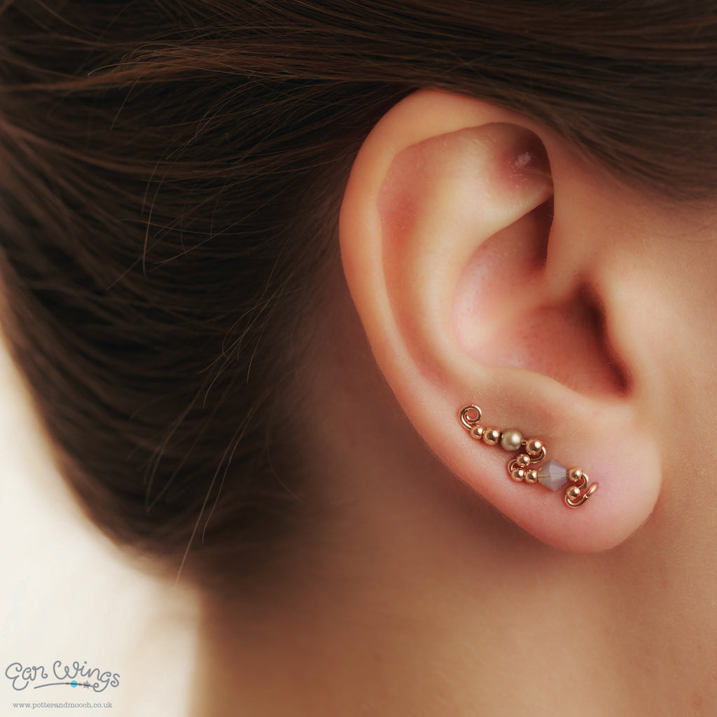 Ear Wings 14ct Rose Gold Filled with Swarovski Grey Opal Crystals