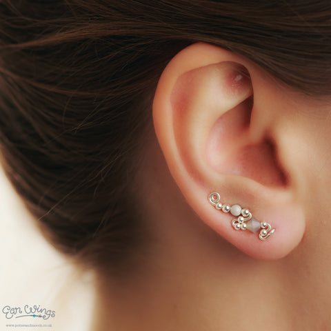 Ear Wings 925 Sterling Silver with Swarovski Grey Opal Crystals