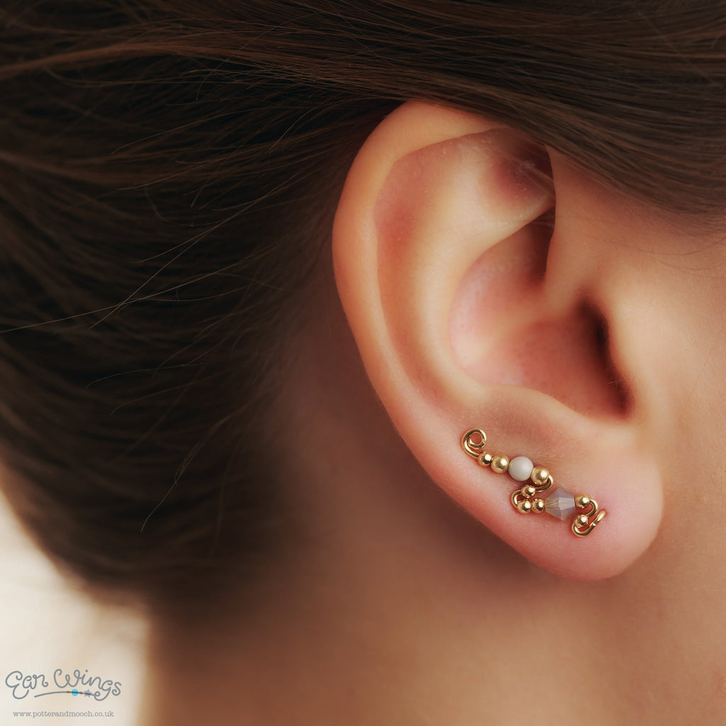 Ear Wings 14ct Yellow Gold Filled with Swarovski Grey Opal Crystals