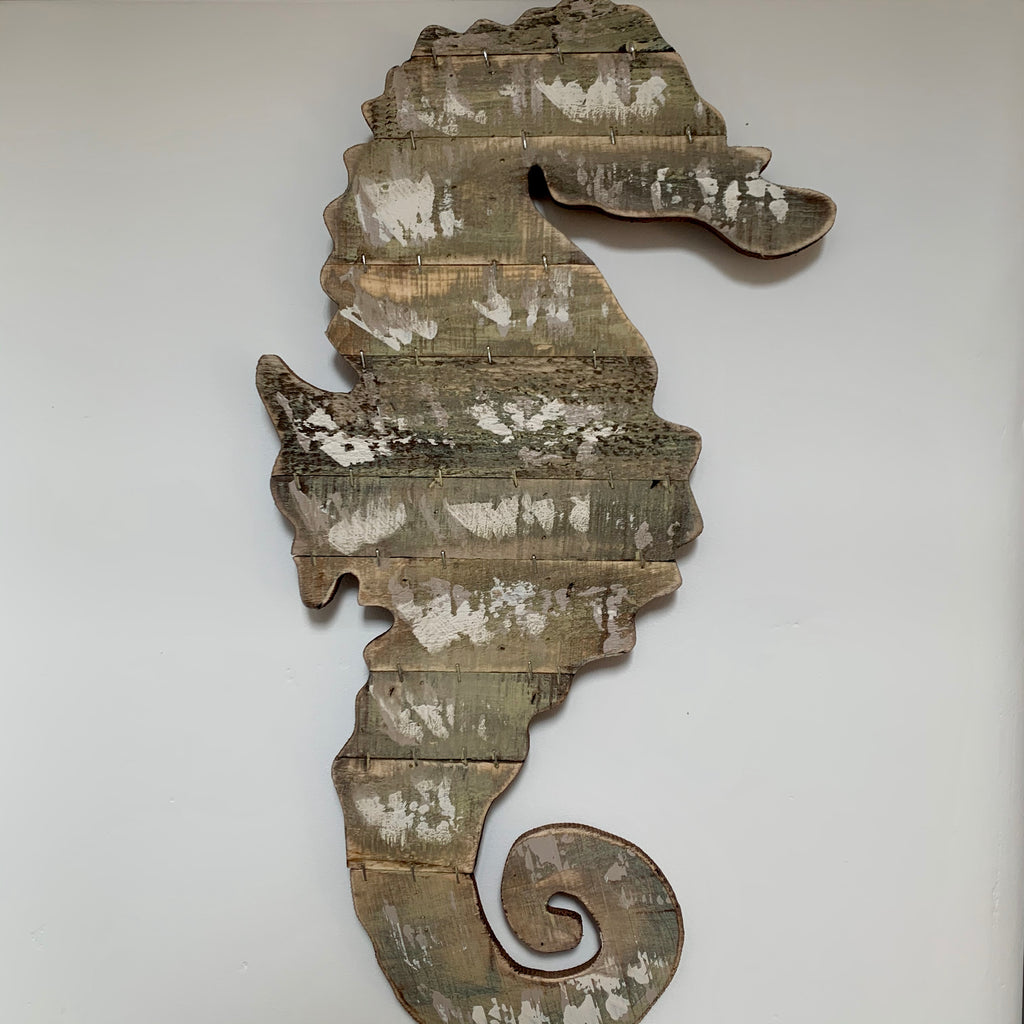 Large Wooden Seahorse Wall Art