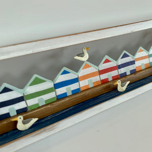Beach Huts in White Box Frame