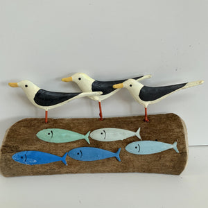 Gulls and Fish on Driftwood - Small