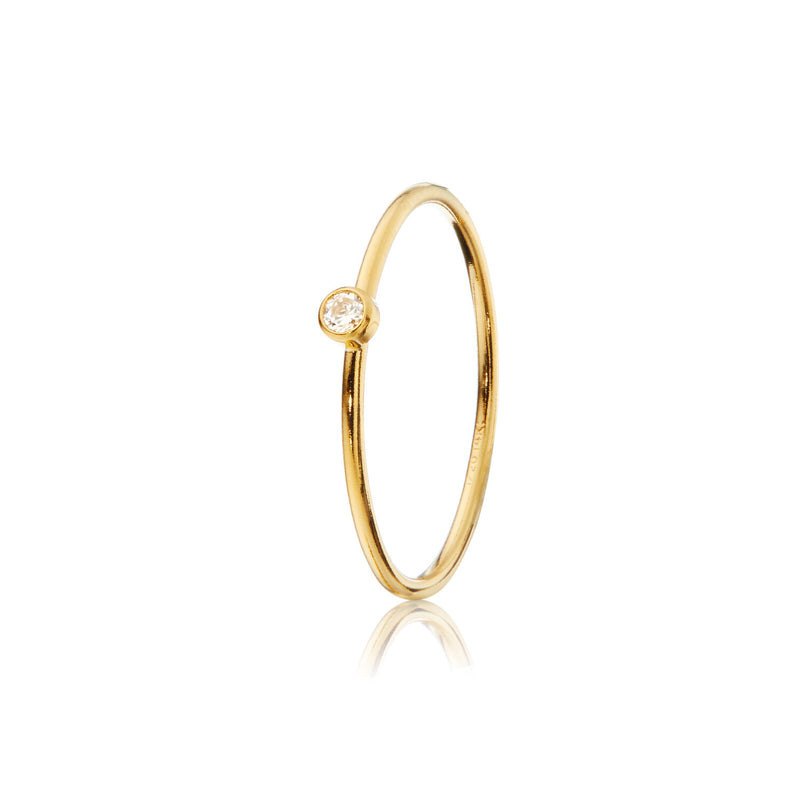 14ct Yellow Gold Stacking Ring - Clear CZ Stone