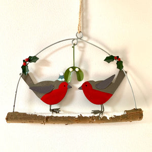 Robins with Mistletoe