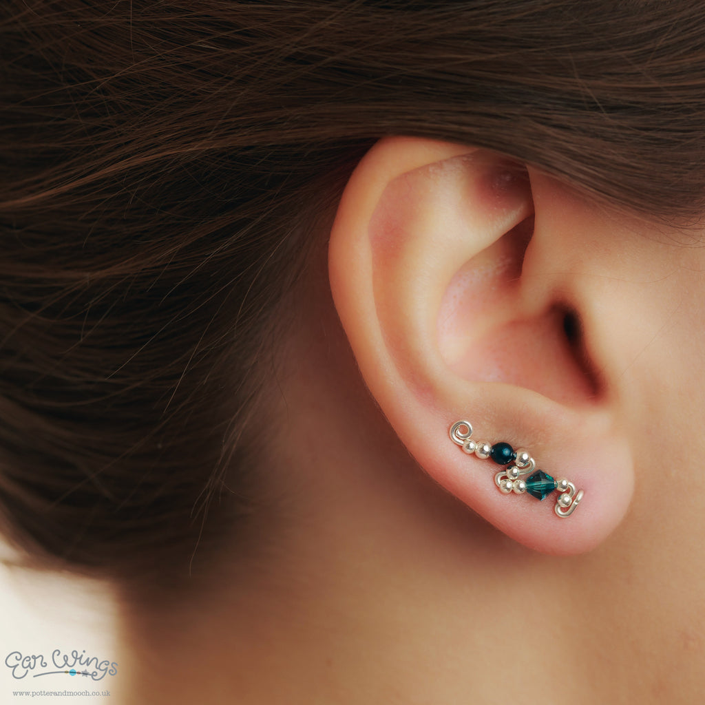 Ear Wings 925 Sterling Silver with Swarovski Indicolite Crystals